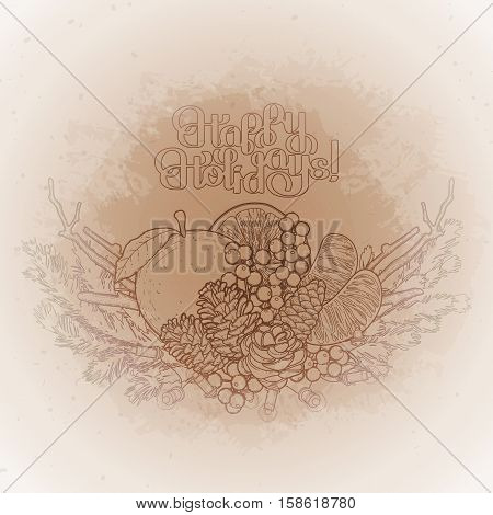 Christmas fir vignette with mandarins, holly and dry branches. Vector design elements isolated on the vintage background in ocher colors.