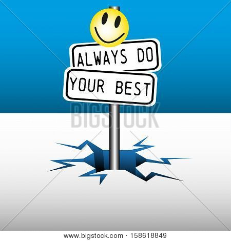 Colorful background with two plates with the text always do your best, coming out from an ice crack