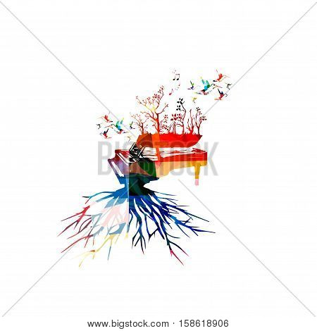 Colorful piano with hummingbirds. Music background. Music instrument poster with music notes. Piano with tree root. Music notes, music equipment design. Piano with trees isolated. Piano vector