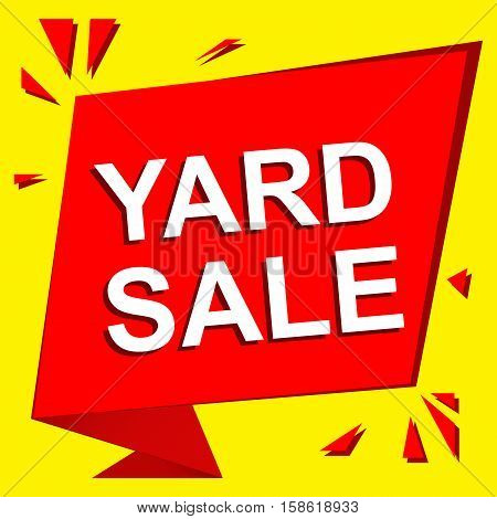 Sale poster with YARD SALE text. Advertising  and red vector banner template