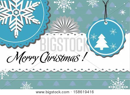 Colorful background with snowflake decorations and the text Merry Christmas written with handwritten letters