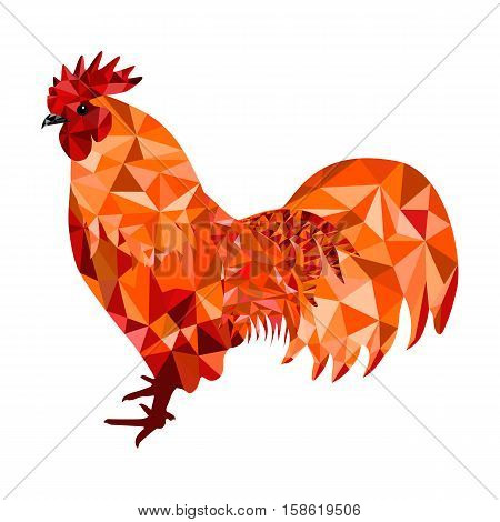 Stylized red polygon rooster, cockerel or cock isolated on white background. Symbol of chinese new year