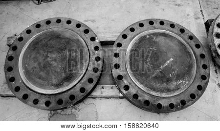 Flange connection of pipe with rust,PE,flanges on the white background.,Industrial background from part of valves for power, oil or gas industry