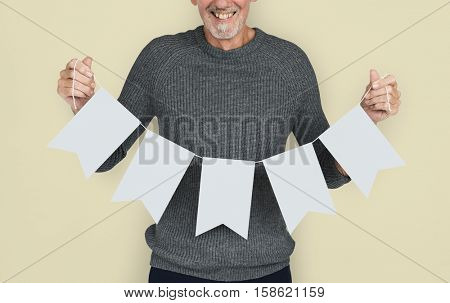 Senior Adult Pennant Bunting Copy Space Concept