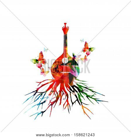 Colorful Portuguese fado guitar with butterlies. Music background. Music instrument poster with music notes. Portuguese guitar with tree root. Music equipment design. Portuguese fado guitar vector