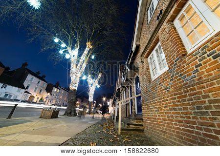 Twilight capture of Castle Street in Farnham, Surrey
