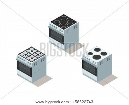 Vector isometric set of electric and gas cooker, stove, 3d flat design kitchen equipment, home constructor, modern interior and game object.