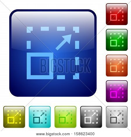 Maximize element color glass rounded square button set