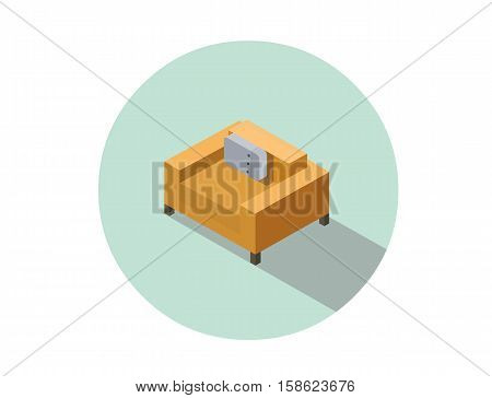 Vector isometric modern orange armchair, 3d flat interior design element, comfortable furniture illustration for stores advertising
