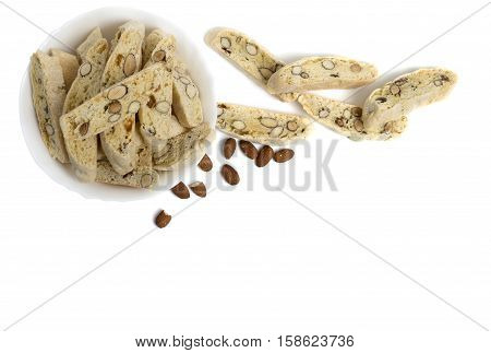 flat lay of plate of biscotti pastry isolated over white