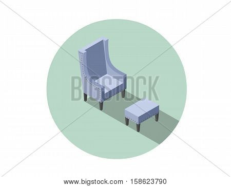 Vector isometric blue vintage armchair, 3d flat interior design element, comfortable furniture illustration for stores advertising