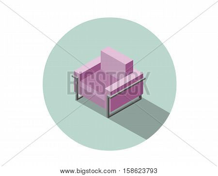 Vector isometric modern pink armchair, 3d flat interior design element, comfortable furniture illustration for stores advertising