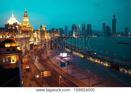 Bird view at Shanghai Bund European-style buildings landscape of night