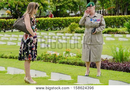 Labuan,Malaysia-Nov 11,2012:People attending the Remembrance Day in Commonwealth World War II graveyard in Labuan,Malaysia.Remembrance Day in Borneo will be observed at Labuan World War II Memorial.
