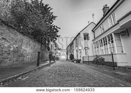A central Farnham lane, just off Downing Street in Farnham, Surrey.