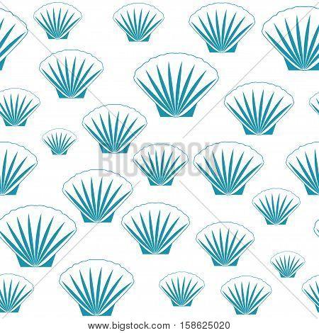 Seamless sea shells. Aqua shells backgorund vector.