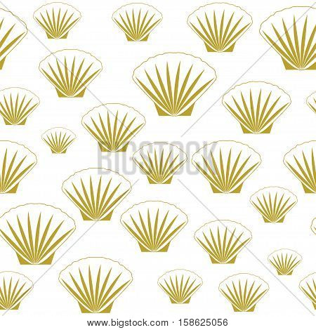 Seamless sea shells. Gold shells backgorund vector.