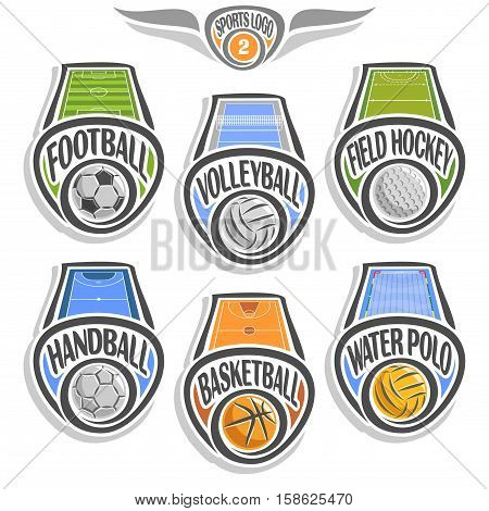 Vector set sports logo with ball, football soccer, volleyball court, field hockey, handball stadium, basketball arena, water polo pool, abstract sign sporting club, icon games ball isolated on white.
