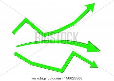 Green arrows. Rising or declining trend. Vector illustration isolated on white background