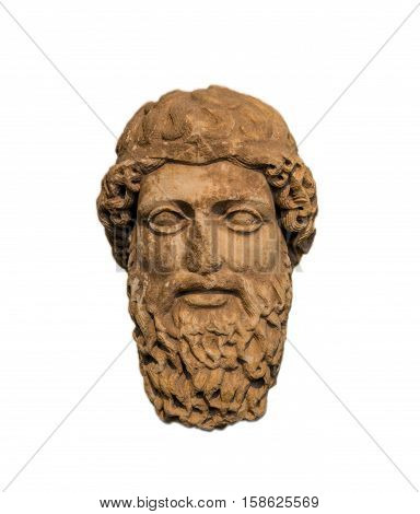 Ancient head of a bearded god, representing Zeus or Hermes, found in Piraeus, Greece (450 B.C.)