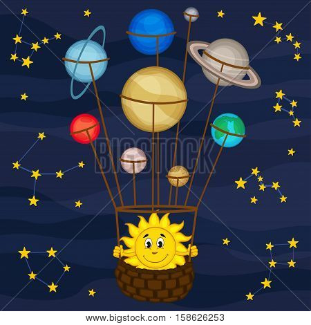 Solar system like balloon - vector illustration, eps