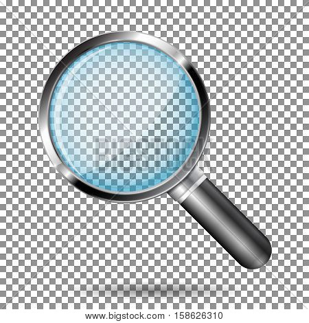 Transparent magnifying glass with metal frame. Vector illustration isolated