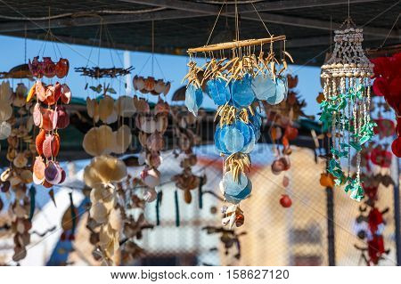 Market With Handmade Ceramic Souvenirs For Sale On Crete Island