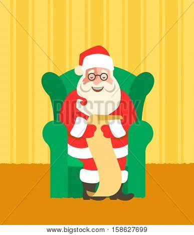 Santa Claus sits in a chair and reads Naughty or Nice Kids List. Cartoon vector illustration. Cute character design. Home interior background. Greeting card design