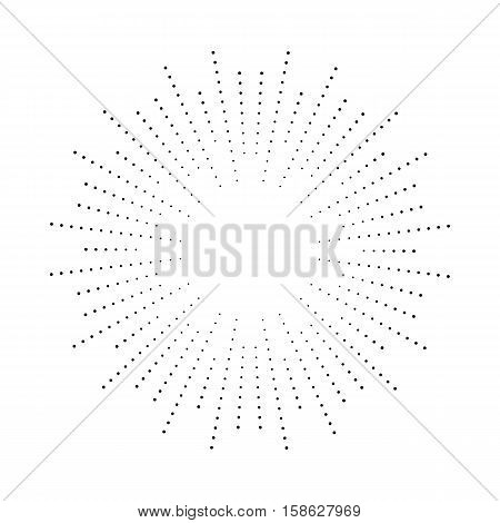 Halftone effect illustration. Black dots on white background. Black and white Sunburst background. Abstract dotted background.