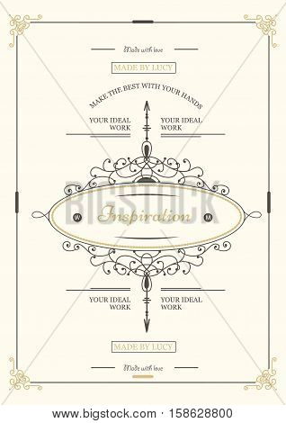 Monogram creative card template with flourishes ornament elements. Elegant design for cafe, restaurant, heraldic, jewelry, fashion. Hand drawn elements. curly and swirls vintage frame