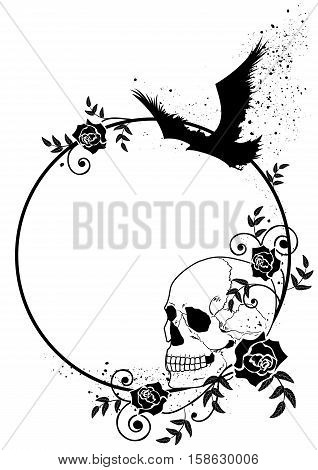 vector frame with skull raven and roses in black and white colors
