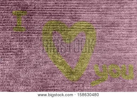 Backgrounds and effects colorful corduroy cloth with a heart of love