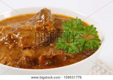 bowl of fresh beef goulash - close up
