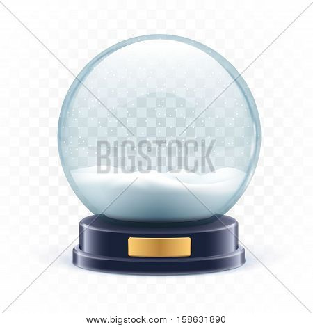 vector illustration of vector illustration of snow globe ball realistic new year chrismas object isolated on white with shadow