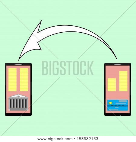 Internet banking e-money transfer from card to a bank account. Finance transaction technology vector illustration