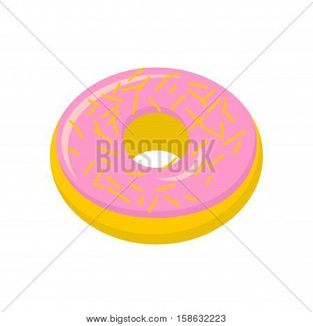 Strawberry Donut Isolated. Baking Sweets On White Background. Delicious Dessert
