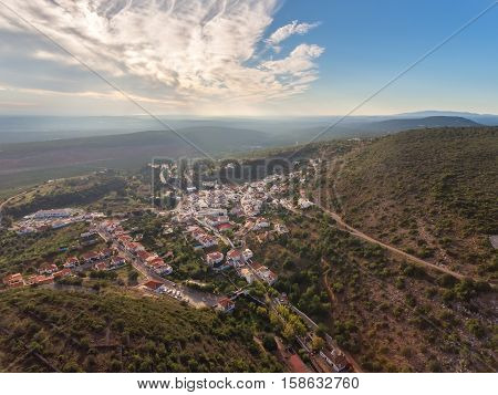 Aerial. Village of Alte, Loule region. The captured drone to the sky.