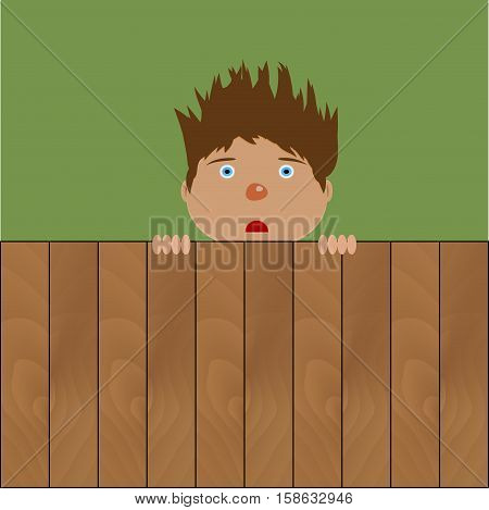 Crazy boy behind fence. Young male with hairstyle on wooden fence. Vector illustration
