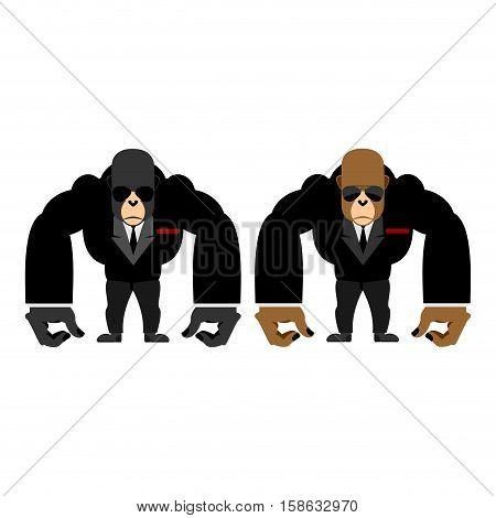 Gorilla bouncer. Big strong animal guard. Monkey in black suit bodyguard poster