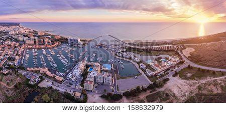 Aerial. Panorama from the sky, tourist resort Vilamoura. Algarve Portugal
