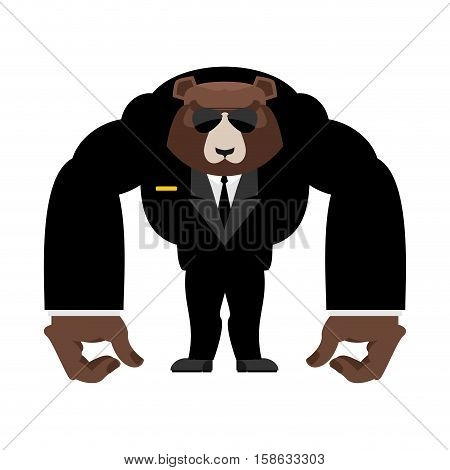 Bear Bodyguard In Black Suit. Strong Grizzly Guard