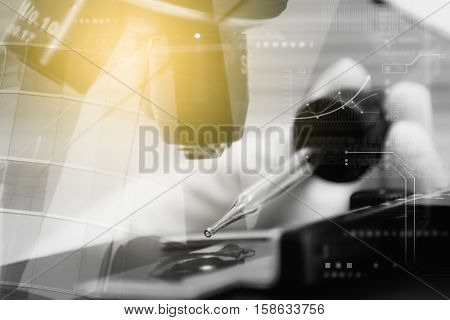 Double Exposure Of Scientist Taking Aliquote Of An Enzyme In Modern Lab, Science Concept,copy Space,