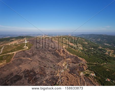 Aerial. Aerophotography Foya Mountains in Monchique. Earth after fire
