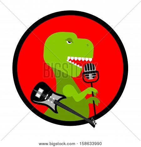 Dino Rock.tyrannosaurus Sings Song. Dinosaur With Guitar. Ancient Predator And Microphone