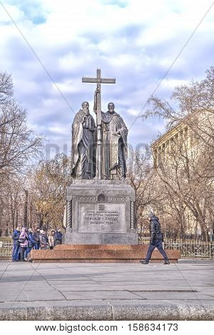 MOSCOW RUSSIA - November 22.2014: Monument to the Christian preachers the creators of Russian written language on Slavyanskaya Square near the Ilyinsky public garden
