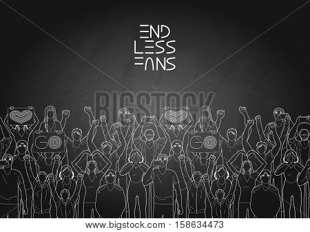 Crowd of cheering fans. Cyber sport concept. Vector endless border.