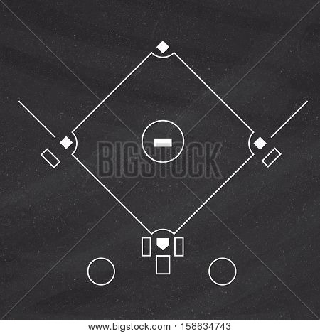 Baseball Field Template On Blackboard Background
