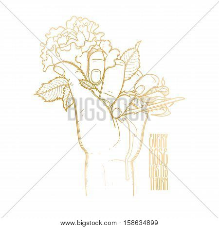 Graphic bleeding hand grasping wild rose. Vector card isolated on white background in golden colors.