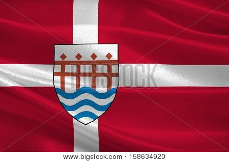 Flag of Haderslev in Southern Denmark Region. 3d illustration