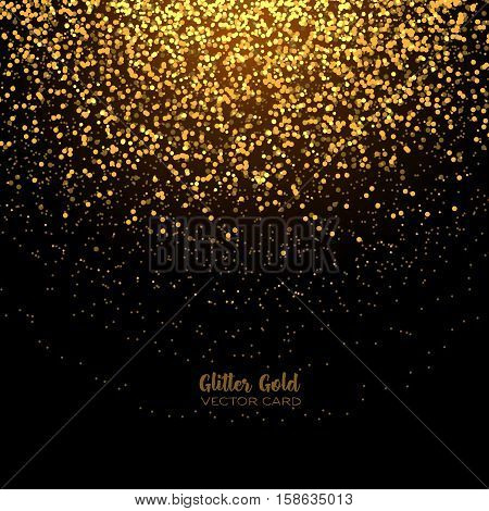 Stylish golden glitter round confetti on black vector background. Shining gold shimmer luxury design card.